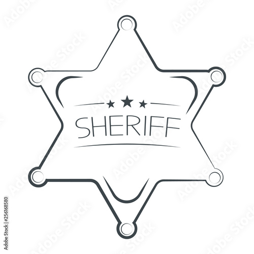 Photo Sheriffs Star Isolated on White Background. Vector Illustration.