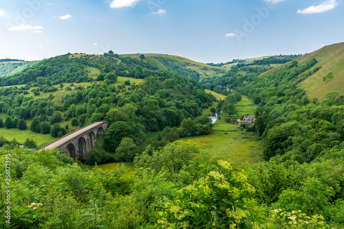 Obraz Peak District landscape with the Headstone Viaduct over the River Wye in the East Midlands, Derbyshire, England, UK - fototapety do salonu