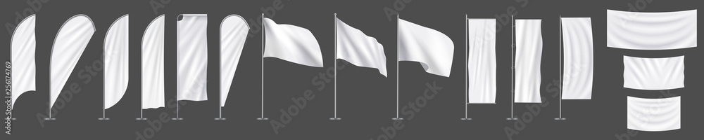 Fototapeta Realistic white advertising textile  vector flags and banners, set
