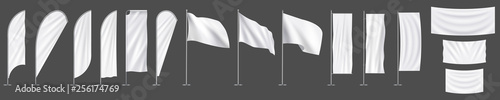 Realistic white advertising textile vector flags and banners, set