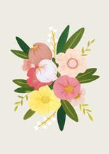 Colorful Gouache Flower Bouquet