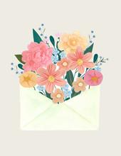 Envelope Full Of Colorful Flowers Illustration