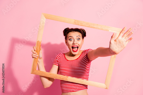 Portrait of her she nice cute charming attractive funny funky cheerful cheery gi Tableau sur Toile