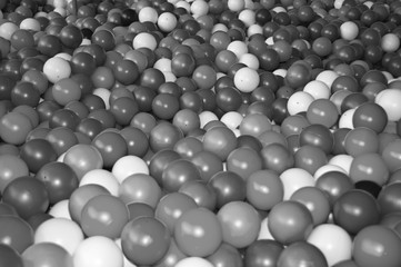 Black grey white balls for dry massage. Black-and-white photo
