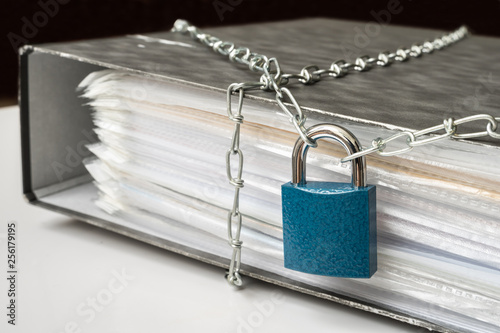 Files locked with chain and padlock - data and privacy security Poster Mural XXL