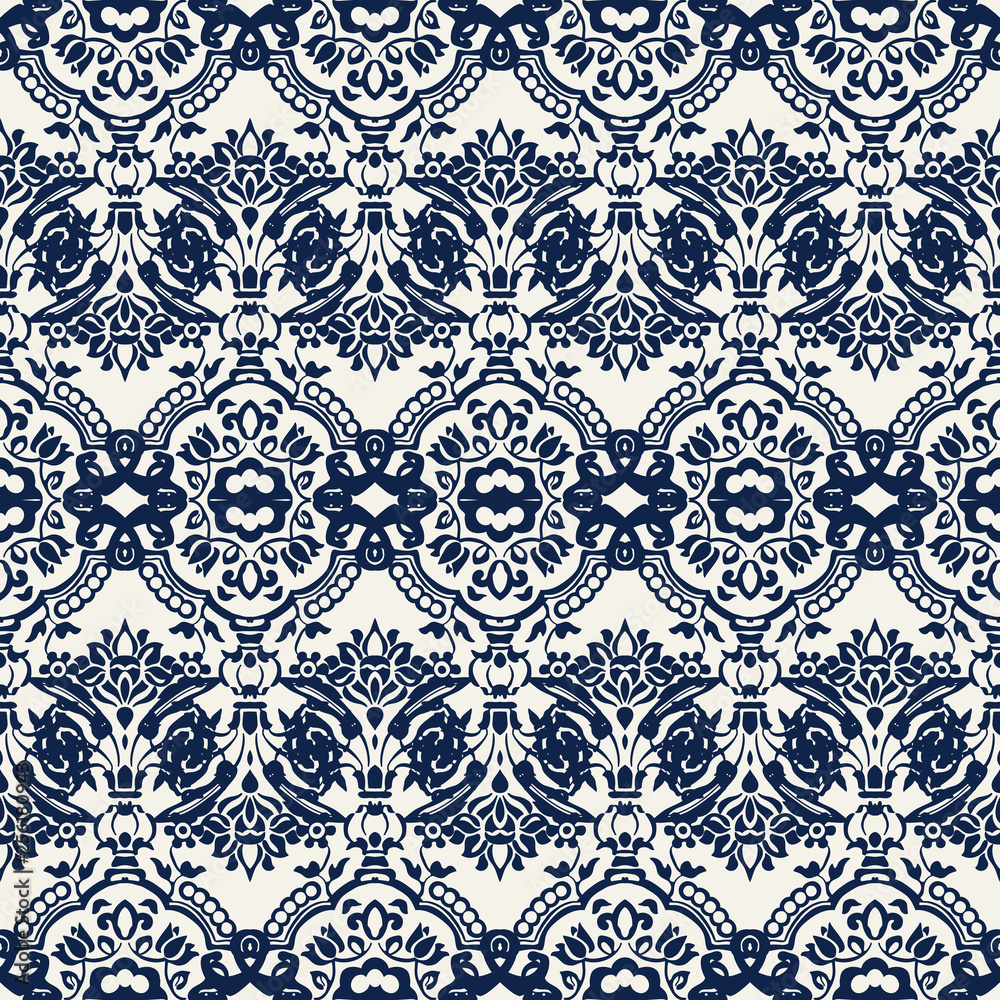 Indigo dye woodblock printed seamless ethnic floral damask pattern. Traditional oriental ornament of India with exotic flowers of Kashmir, navy blue on ecru background. Textile design.