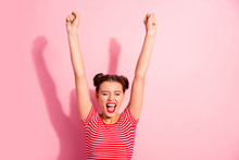 Portrait Of Her She Nice-looking Cute Charming Attractive Adorable Fascinating Lovely Cheerful Cheery Girl Wearing Striped T-shirt Raising Hands Up Isolated Over Pink Pastel Background