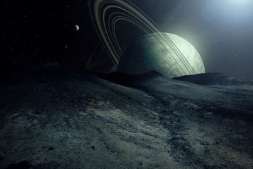 alien planet landscape sci fi spatial background, view from planet surface with spectacular sky, realistic digital illustration