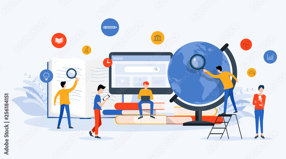 Fototapeta flat Vector illustration  technology business research , learning and online education concept with people business team working concept