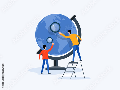 Cuadros en Lienzo flat Vector illustration  technology business research , learning and online edu