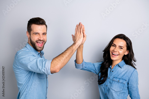 Obraz Close up side profile photo amazing she her he him his couple lady guy clapping hands arms teamwork bonding good job work wear casual jeans denim shirts outfit clothes isolated grey background - fototapety do salonu
