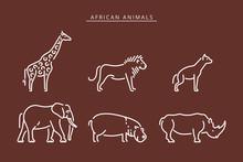 African Savanna Animals Set Outline Vector Illustration