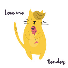 Funny Yellow Cat Singing In Microphone.