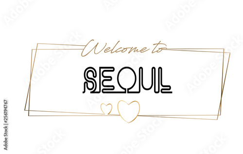 Seoul  Welcome to text Neon lettering typography Wallpaper Mural