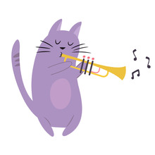 Funny Cat Playing Trumpet. Vec...