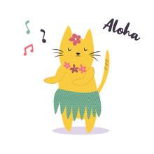 Funny Yellow Hawaiian Cat Dancing To The Music.