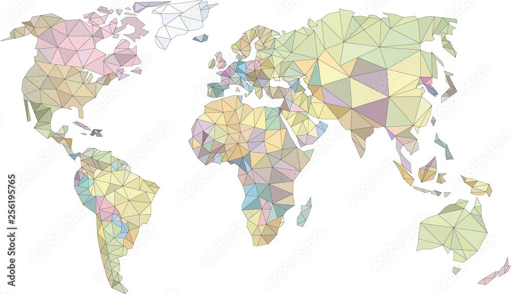 Fototapeta świat low poly, world low poly, kolorowa mapa świata, mapa