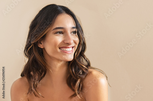 Smiling brunette woman Wallpaper Mural
