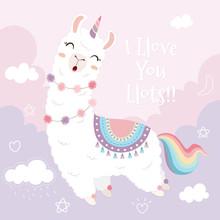 Cute Llama Unicorn And Rainbow Floating In The Sky.