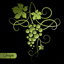 Branch Of Green Grapes On Black Background. Decorative Element From The Vine. Vector Illustration.