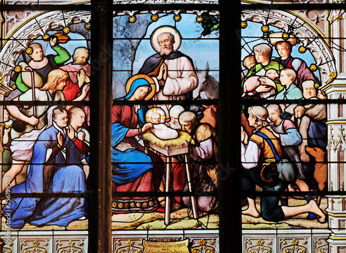 Poster Stained Nativity Scene, Adoration of the Shepherds, stained glass window in Saint Severin church in Paris, France