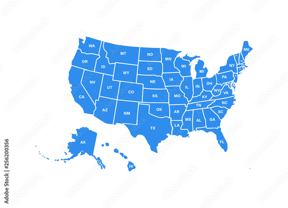 Fototapety, obrazy: Blank similar USA map isolated on white background. United States of America usa country. Vector template usa for website, design, cover, infographics. Graph illustration.