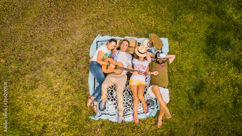 Deurstickers Ontspanning Top vertical aerial view of group of friends lay down on the meadow and enjoy the friendship playing a guitar and relaxing all together - people friends in outdoor leisure activity