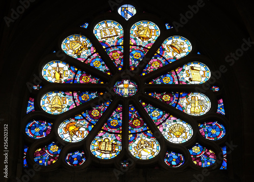 In de dag Stained Rose window in the Saint Etienne du Mont Church, Paris, France