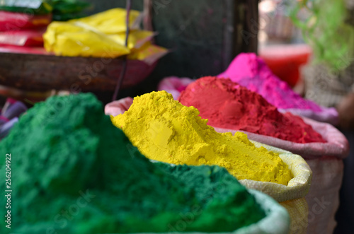 Foto op Canvas India gunny sacks of herbal organic gulal holi color on display for sale in old delhi market