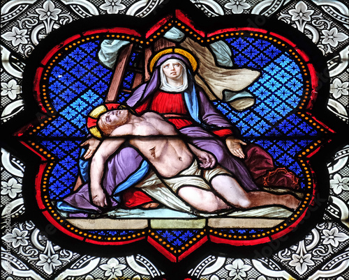Deposition from the Cross, stained glass window in the Basilica of Saint Clotild Wallpaper Mural