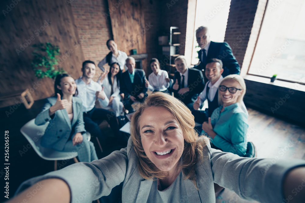 Fototapety, obrazy: Self-portrait above high angle view of nice stylish cheerful glad positive director company staff showing thumbsup yes goal achievement recommend modern industrial loft interior work place open space