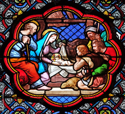 Fotomural Nativity Scene, Adoration of the Shepherds, stained glass window in the Basilica