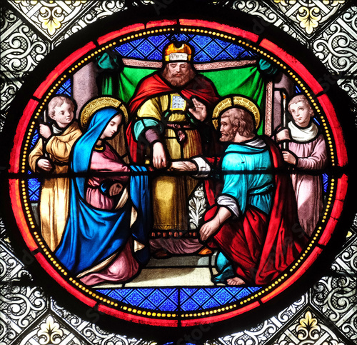 Aluminium Prints Stained Marriage of St Joseph and Virgin Mary, stained glass window in the Basilica of Saint Clotilde in Paris, France