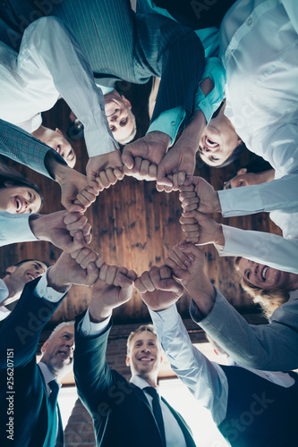 Vertical low angle view photo business people round circle she her he him his hold hands arms fists together celebrate project prize nomination power inspiration all dressed formal wear jackets shirts