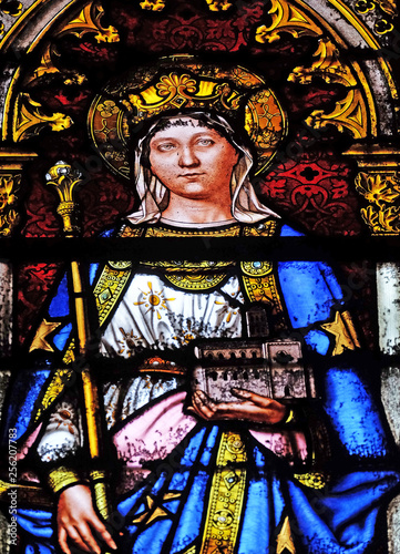 Saint Matilda, stained glass window in the Basilica of Saint Clotilde in Paris, Canvas Print