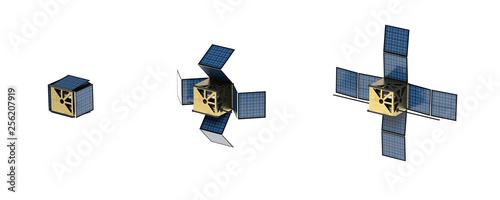 Photo Déploiement panneaux solaires Cubesat