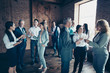 canvas print picture - Close up photo business people different age race free leisure excited team building members gathering she her he him his golden beverage toasting best brigade friendship formal wear jackets shirts