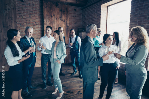 Fototapeta Close up photo business people different age race free leisure excited team building members gathering she her he him his golden beverage toasting best brigade friendship formal wear jackets shirts obraz