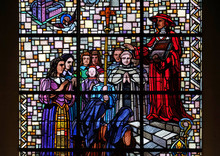 Cardinal Pierre De Berulle And Madame Acario With Carmelite Nuns, Stained Glass Window In Notre Dame Des Blancs Manteaux In Paris, France