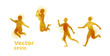 vector set of watercolor silhouettes of children. Happy kids.
