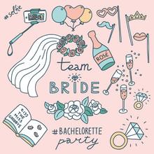Bachelorette Party Concept. Set Of Objects. Pastel Color Doodle.