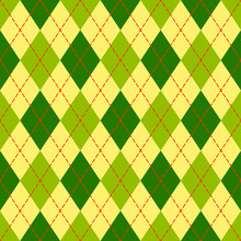 Yellow And Green Argyle Geomet...