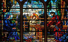 Holy Family, Stained Glass Windows In The Saint Laurent Church, Paris, France