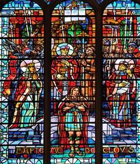 Baptism of Clovis, stained glass windows in the Saint Laurent Church, Paris, France