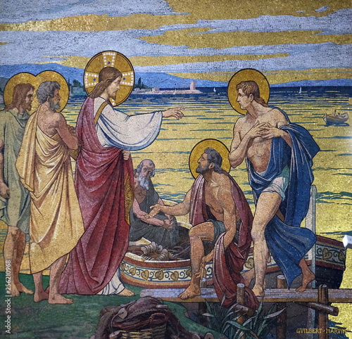 Appearance to the Apostles by the Lake Tiberias, mosaic in the Basilica of the S Fototapeta
