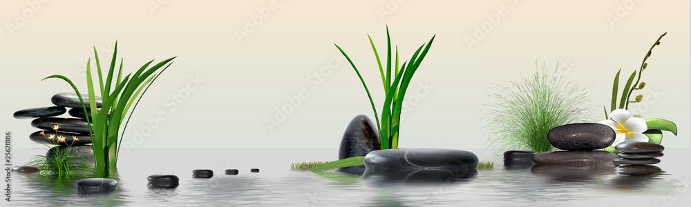 Fototapeta Wandbild mit Gräser, Blüten, Schmucksteine und Wasser