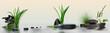 Wandbild mit Gräser, Blüten, Schmucksteine und Wasser