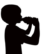 Child Drinking, Silhouette Vector