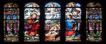 Nativity Scene, Stained Glass ...