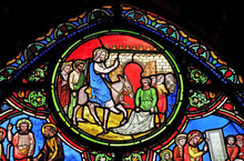 The Entry Of Jesus Into Jerusalem, Stained Glass Window From Saint Germain-l'Auxerrois Church In Paris, France